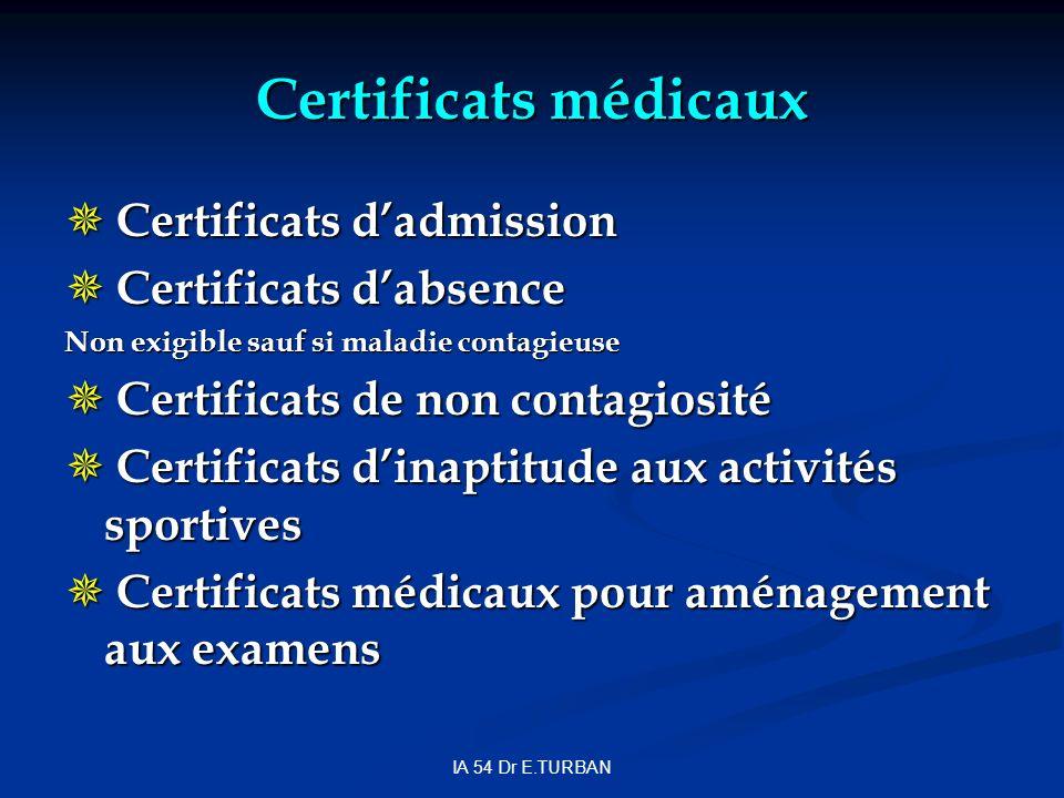 Certificats médicaux Certificats d'admission Certificats d'absence