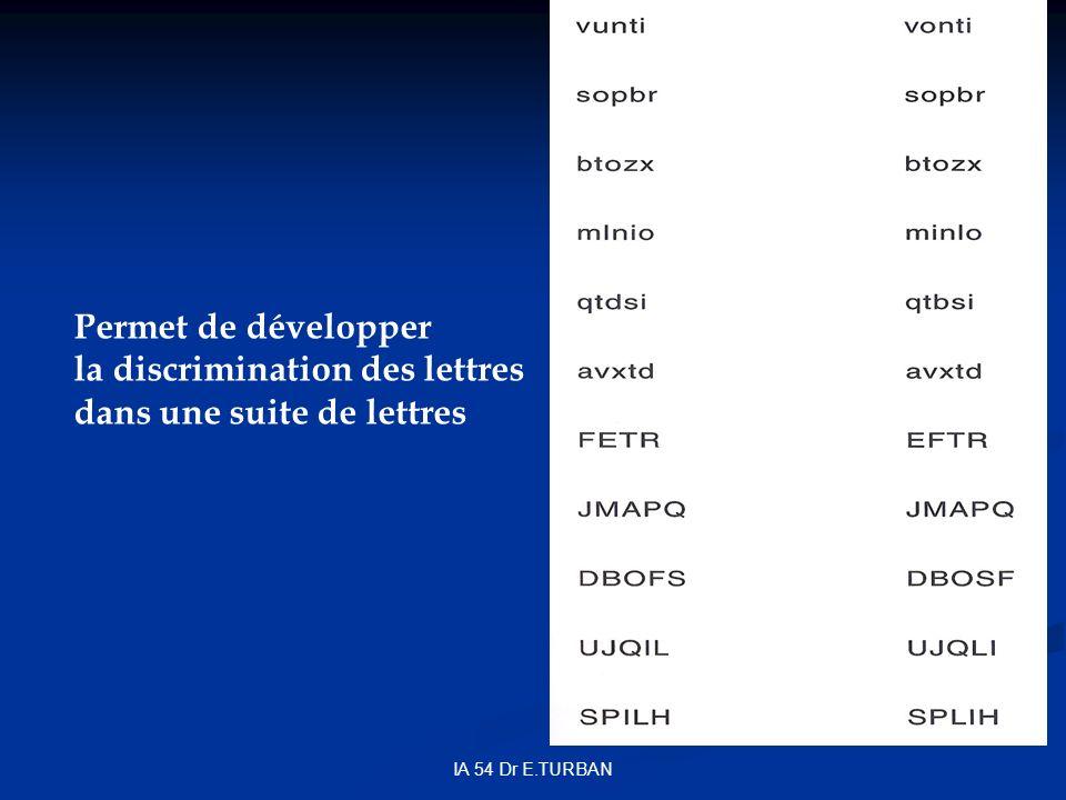 la discrimination des lettres dans une suite de lettres