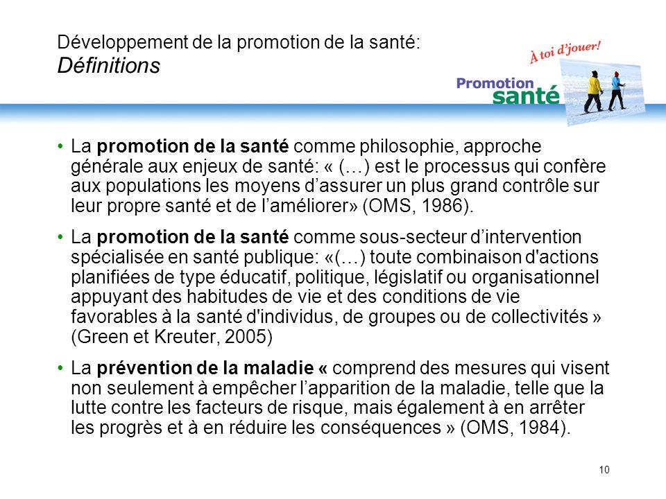 Développement de la promotion de la santé: Définitions