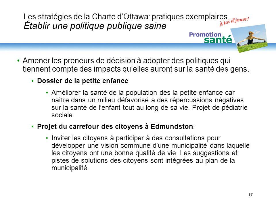 Les stratégies de la Charte d'Ottawa: pratiques exemplaires Établir une politique publique saine