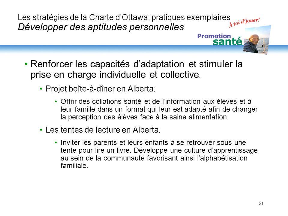 Les stratégies de la Charte d'Ottawa: pratiques exemplaires Développer des aptitudes personnelles