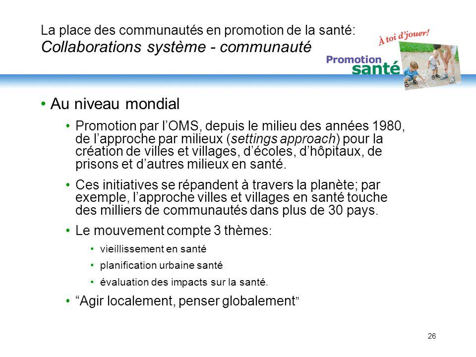 La place des communautés en promotion de la santé: Collaborations système - communauté