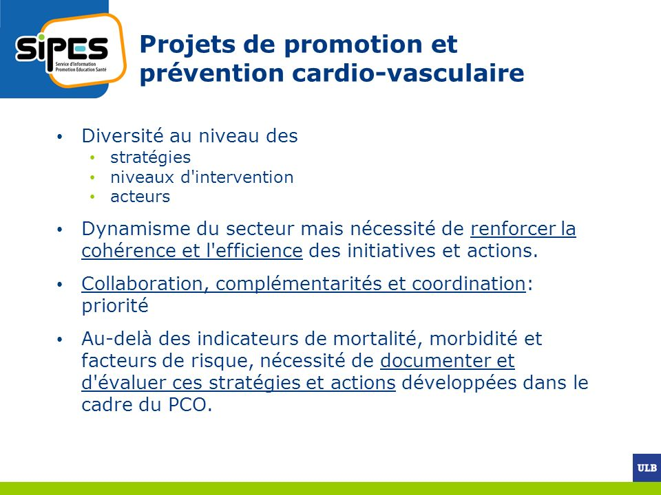 Projets de promotion et prévention cardio-vasculaire