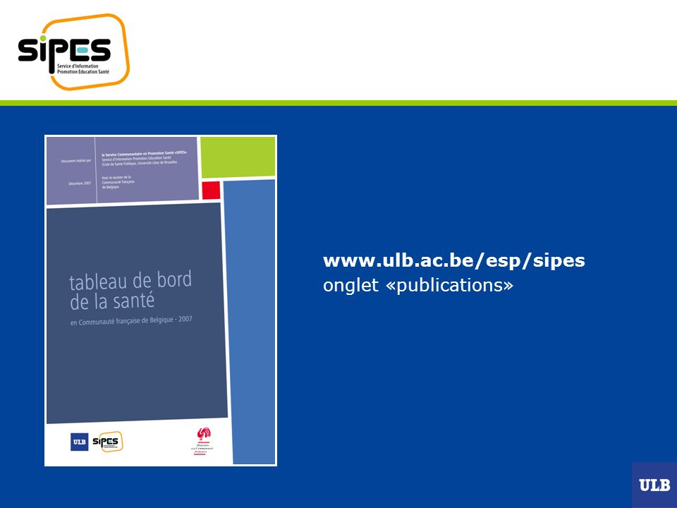 www.ulb.ac.be/esp/sipes onglet «publications»