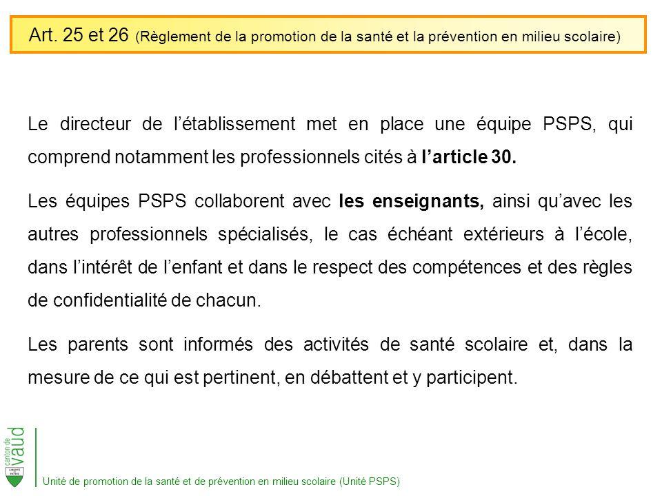 Art. 25 et 26 (Règlement de la promotion de la santé et la prévention en milieu scolaire)