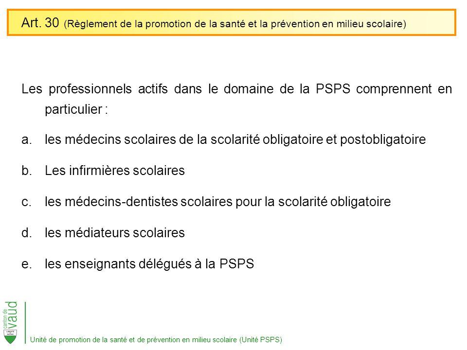 Art. 30 (Règlement de la promotion de la santé et la prévention en milieu scolaire)