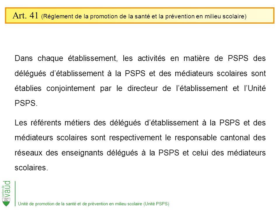 Art. 41 (Réglement de la promotion de la santé et la prévention en milieu scolaire)