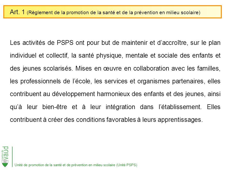Art. 1 (Règlement de la promotion de la santé et de la prévention en milieu scolaire)