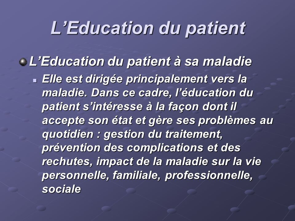 L'Education du patient