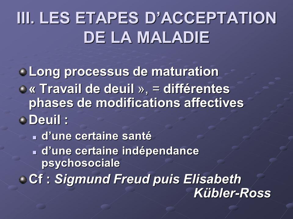 III. LES ETAPES D'ACCEPTATION DE LA MALADIE