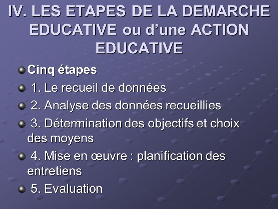 IV. LES ETAPES DE LA DEMARCHE EDUCATIVE ou d'une ACTION EDUCATIVE