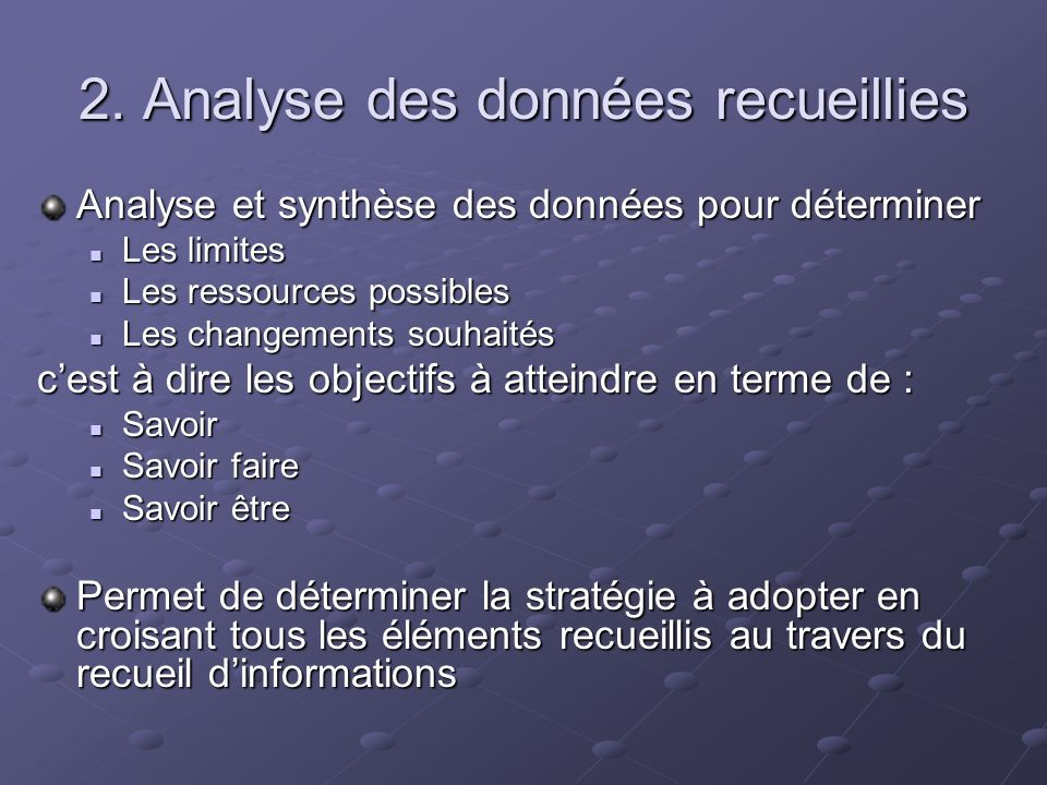2. Analyse des données recueillies