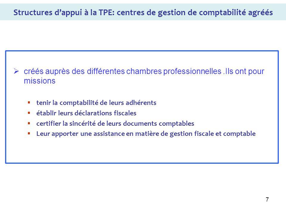 Structures d'appui à la TPE: centres de gestion de comptabilité agréés