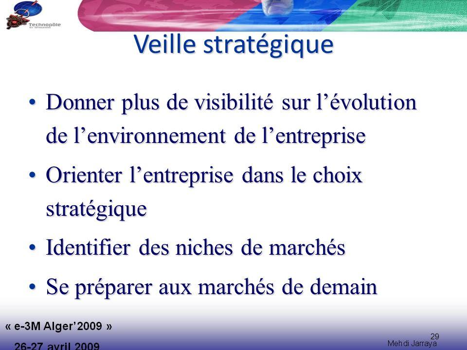 Veille stratégique Donner plus de visibilité sur l'évolution de l'environnement de l'entreprise. Orienter l'entreprise dans le choix stratégique.