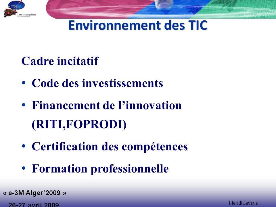 Environnement des TIC Cadre incitatif Code des investissements