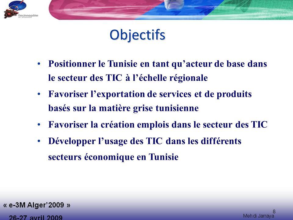 Objectifs Positionner le Tunisie en tant qu'acteur de base dans le secteur des TIC à l'échelle régionale.