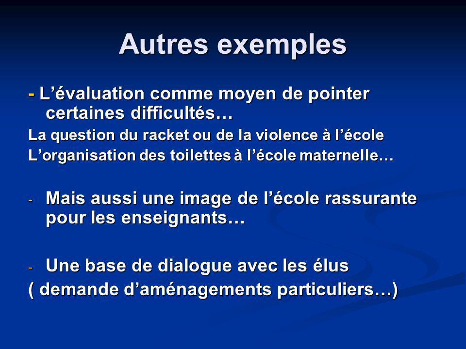 Autres exemples - L'évaluation comme moyen de pointer certaines difficultés… La question du racket ou de la violence à l'école.