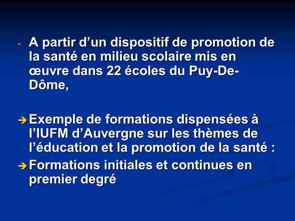 A partir d'un dispositif de promotion de la santé en milieu scolaire mis en œuvre dans 22 écoles du Puy-De-Dôme,