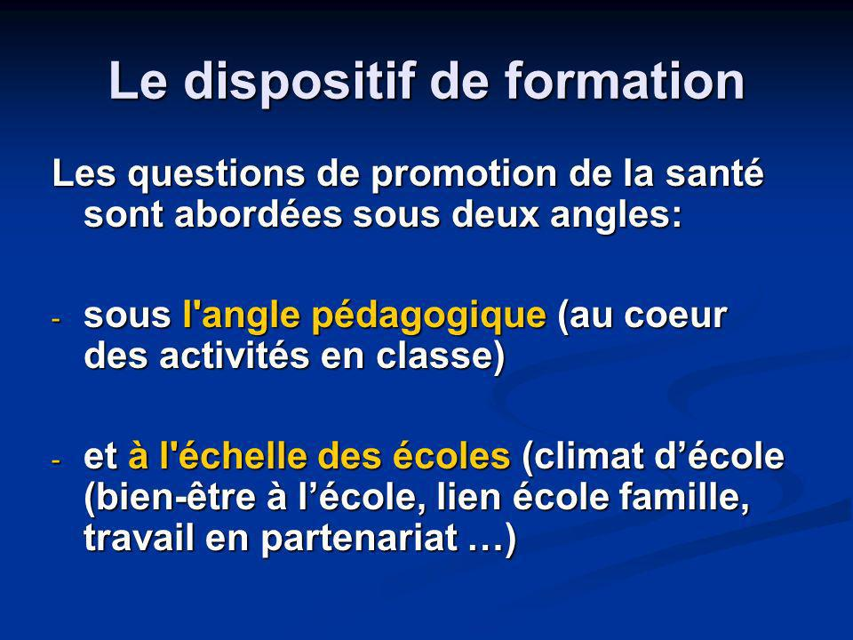 Le dispositif de formation