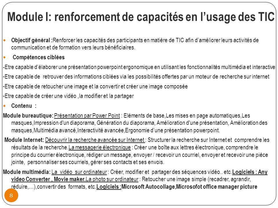 Module I: renforcement de capacités en l'usage des TIC