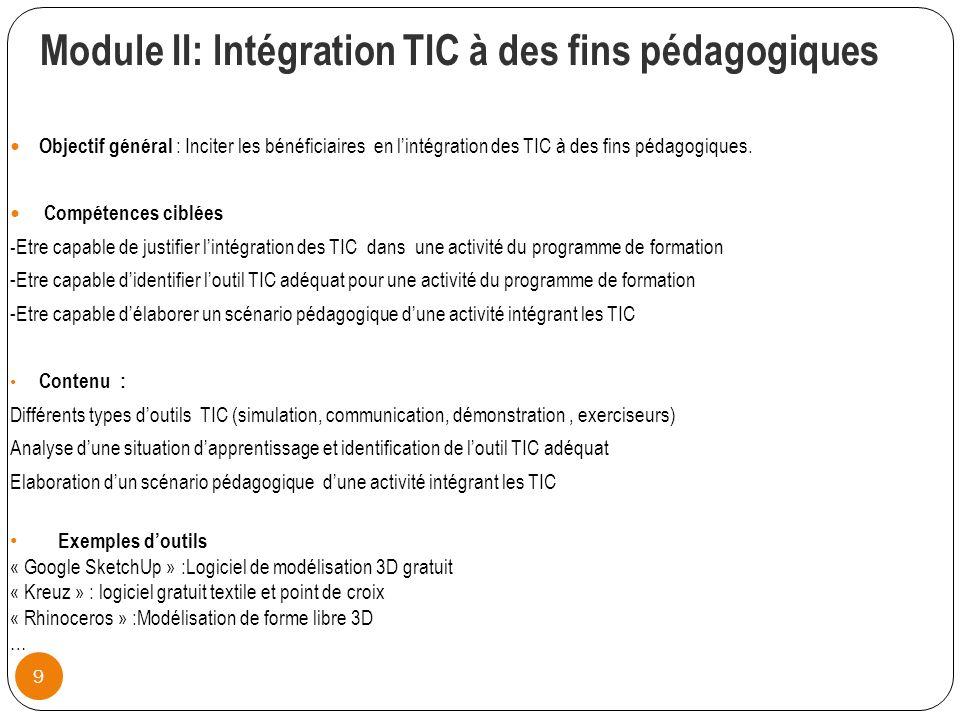 Module II: lntégration TIC à des fins pédagogiques