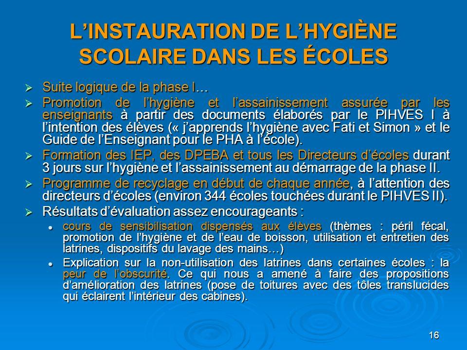 L'INSTAURATION DE L'HYGIÈNE SCOLAIRE DANS LES ÉCOLES