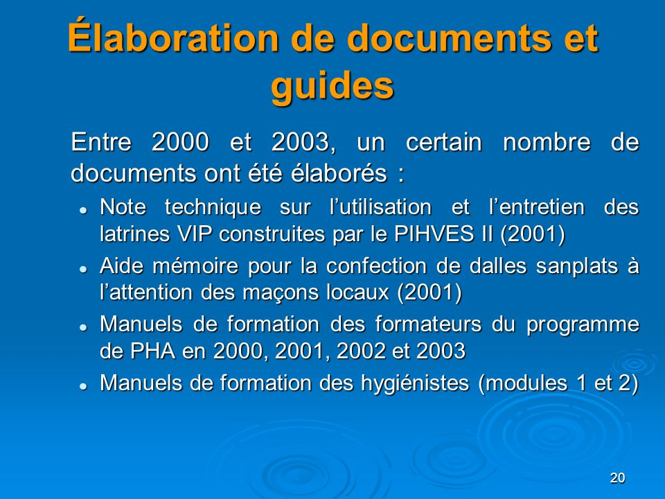 Élaboration de documents et guides