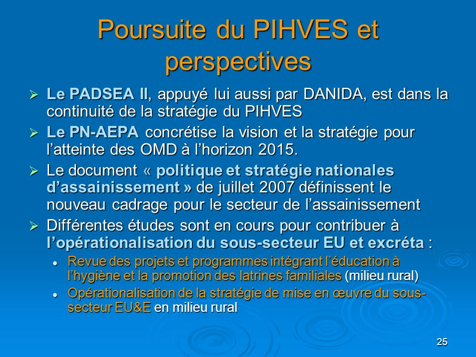 Poursuite du PIHVES et perspectives