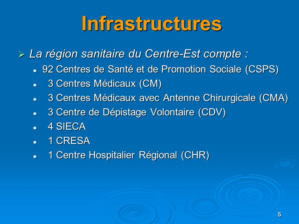 Infrastructures La région sanitaire du Centre-Est compte :