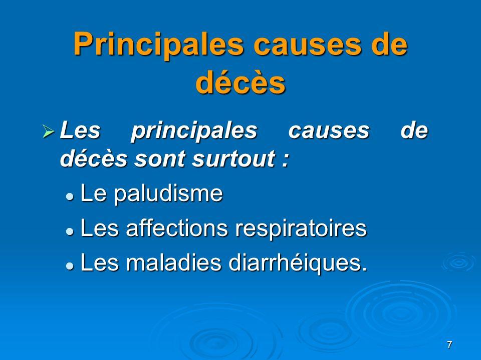 Principales causes de décès