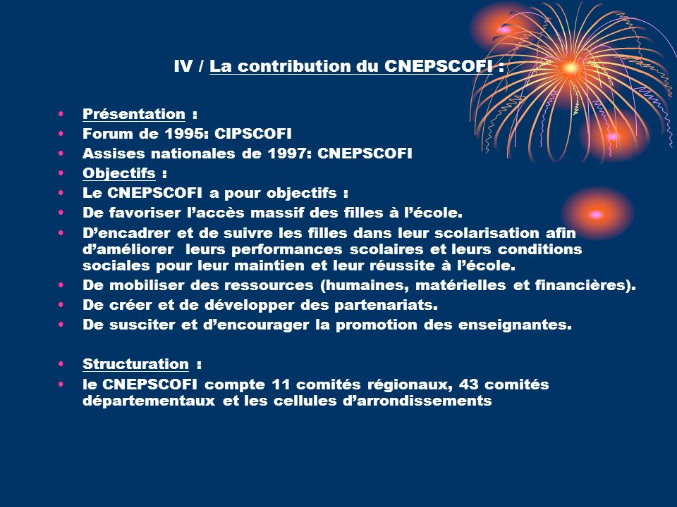 IV / La contribution du CNEPSCOFI :