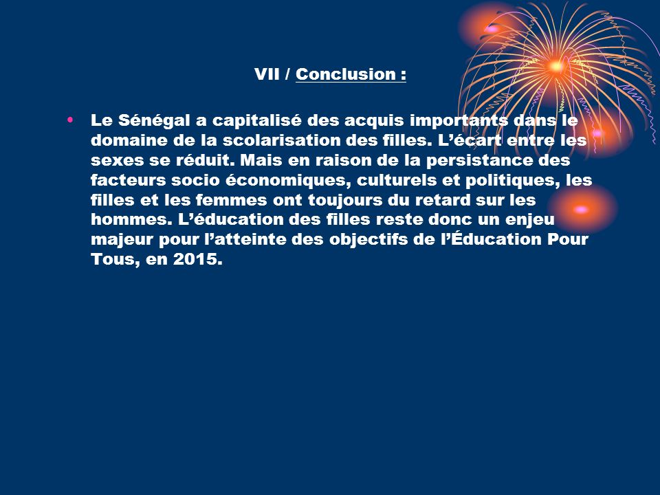 VII / Conclusion :