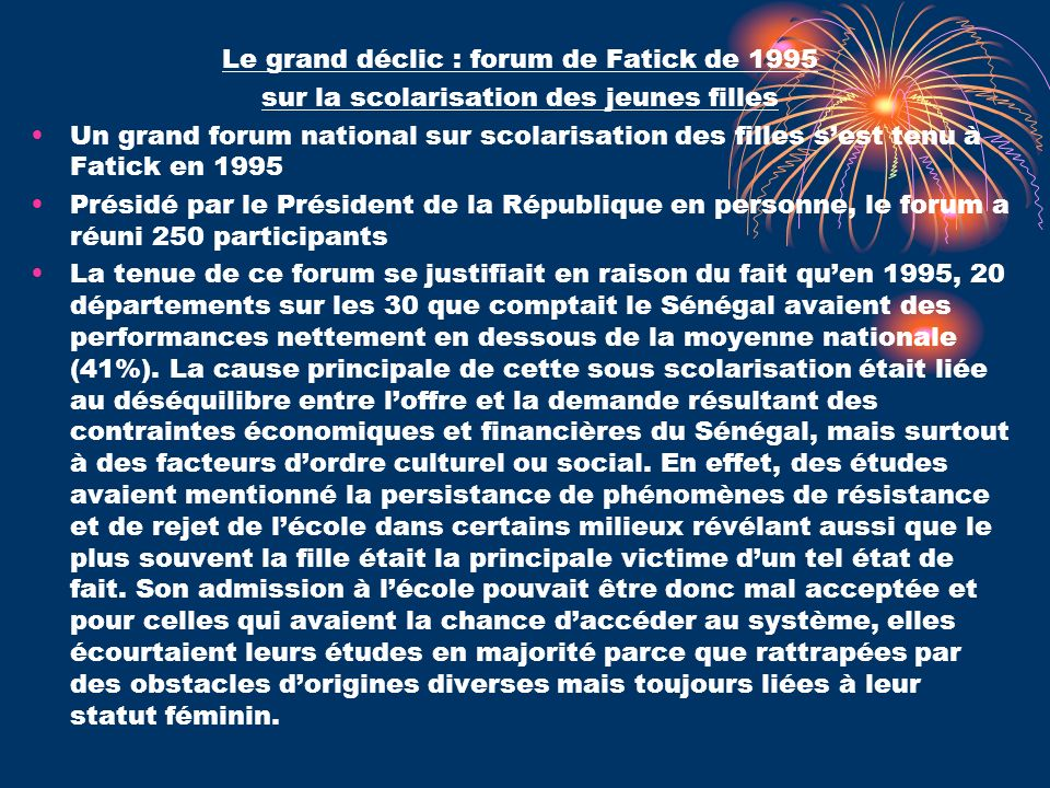 Le grand déclic : forum de Fatick de 1995