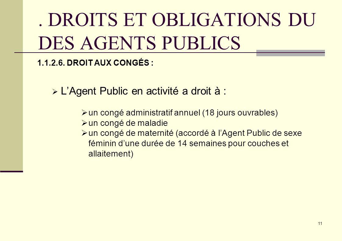 . DROITS ET OBLIGATIONS DU DES AGENTS PUBLICS