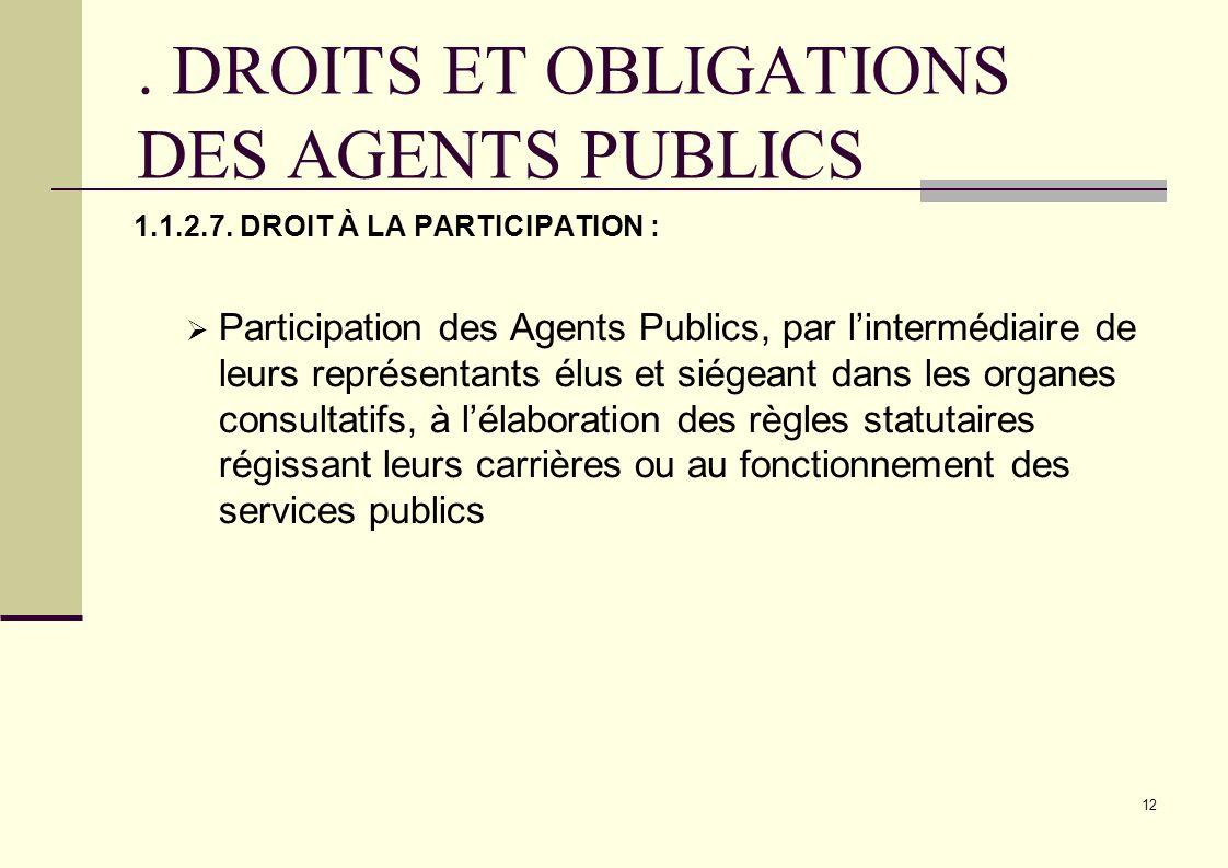 . DROITS ET OBLIGATIONS DES AGENTS PUBLICS