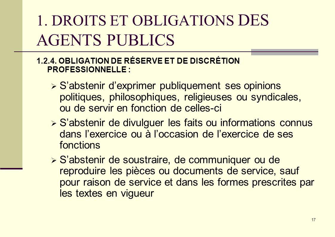 1. DROITS ET OBLIGATIONS DES AGENTS PUBLICS