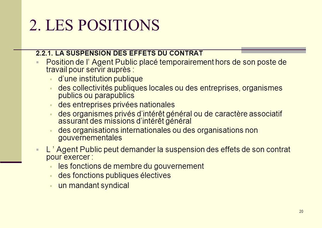 2. LES POSITIONS 2.2.1. LA SUSPENSION DES EFFETS DU CONTRAT.
