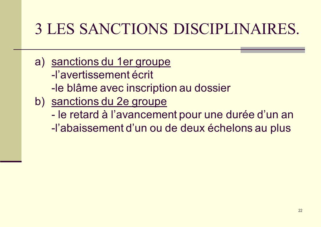 3 LES SANCTIONS DISCIPLINAIRES.