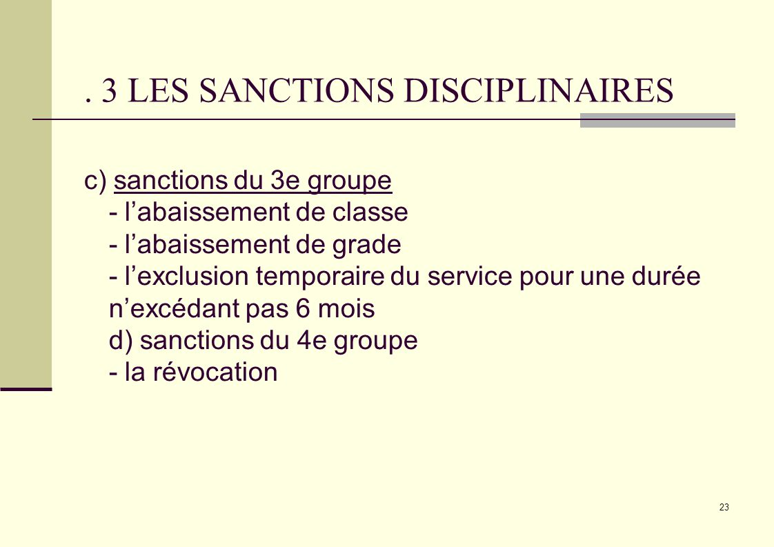 . 3 LES SANCTIONS DISCIPLINAIRES