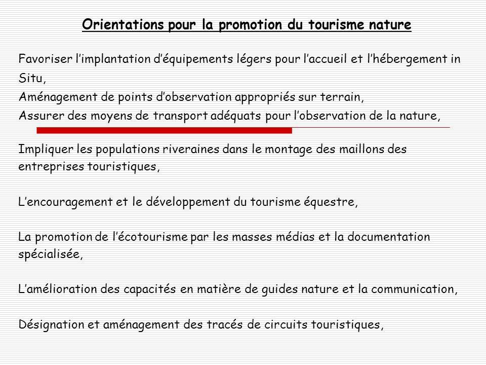 Orientations pour la promotion du tourisme nature