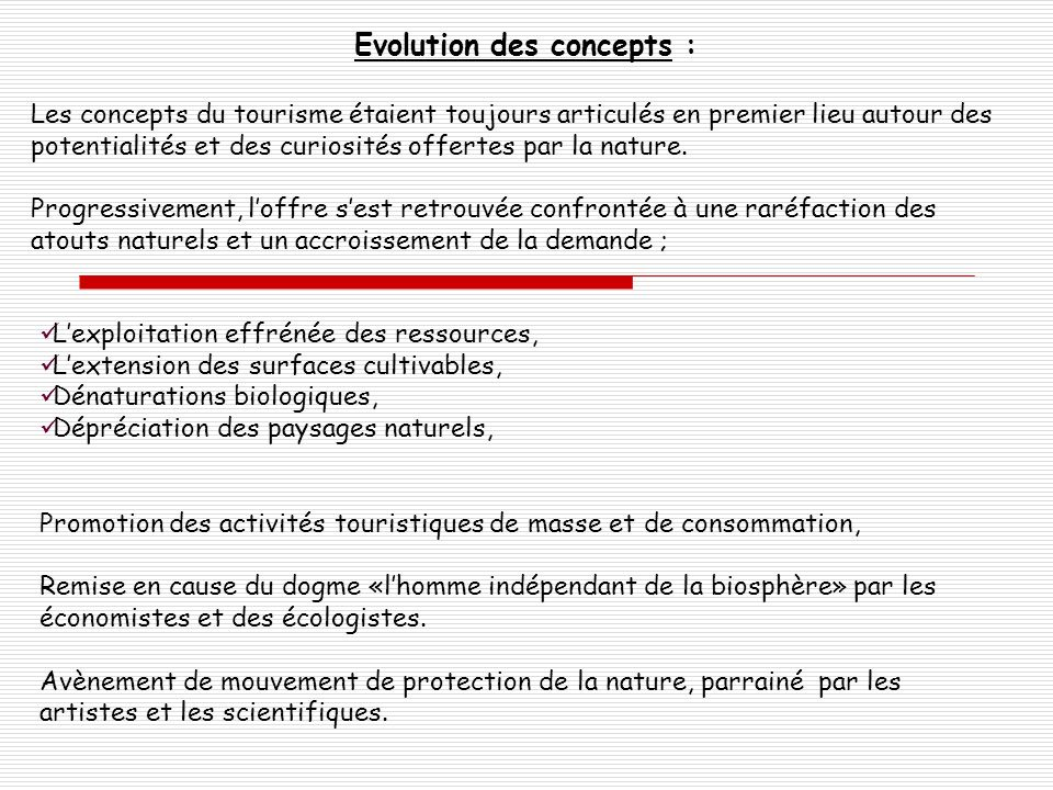 Evolution des concepts :