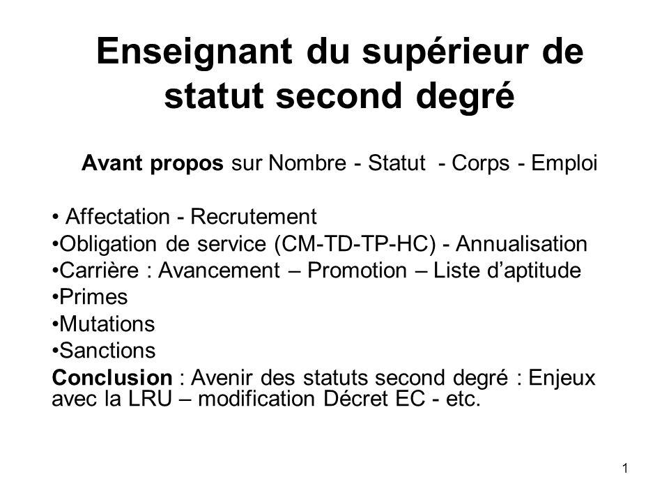 Enseignant du supérieur de statut second degré