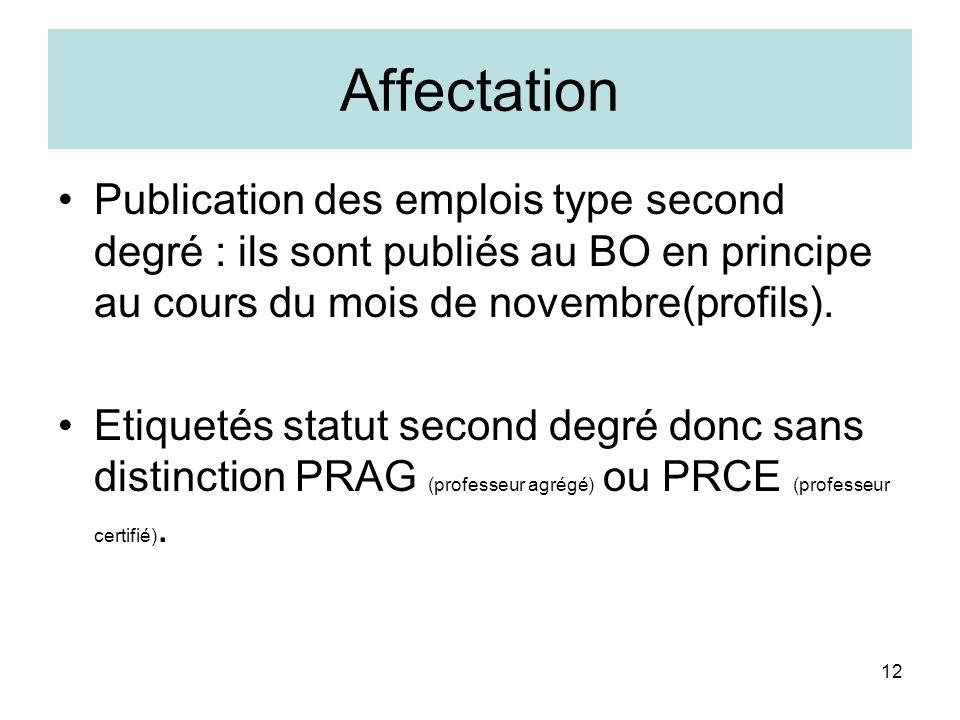 Affectation Publication des emplois type second degré : ils sont publiés au BO en principe au cours du mois de novembre(profils).