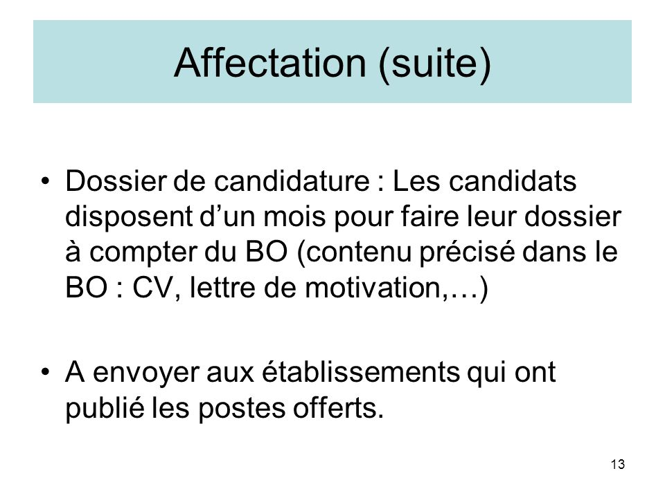 Affectation (suite)