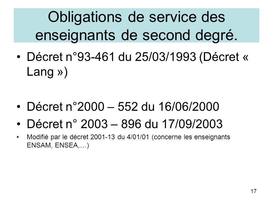 Obligations de service des enseignants de second degré.