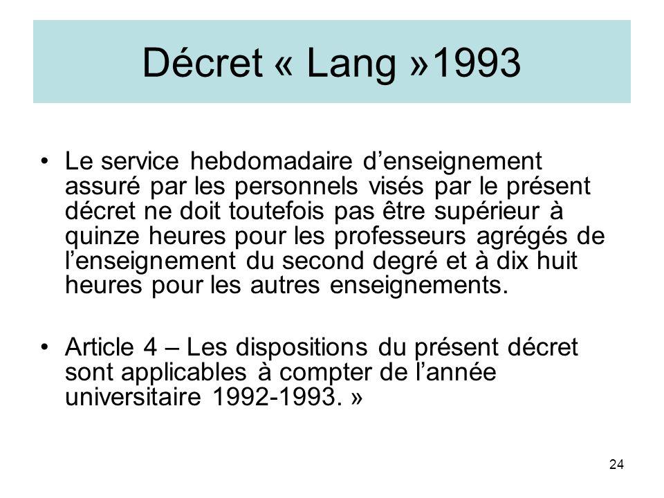 Décret « Lang »1993