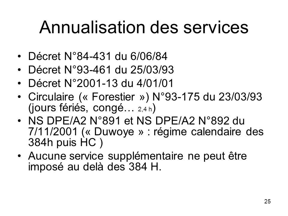 Annualisation des services