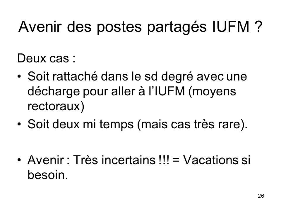 Avenir des postes partagés IUFM