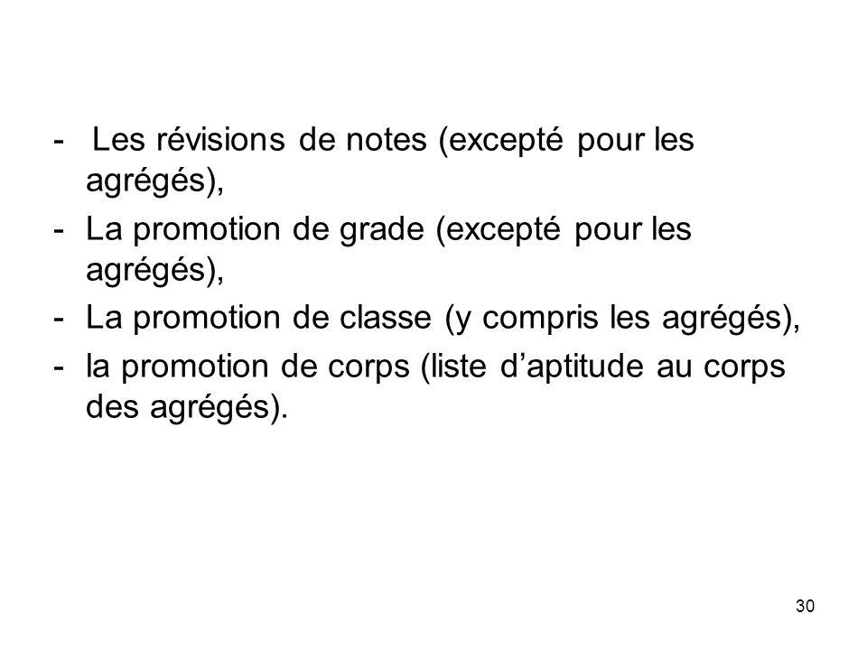 - Les révisions de notes (excepté pour les agrégés),