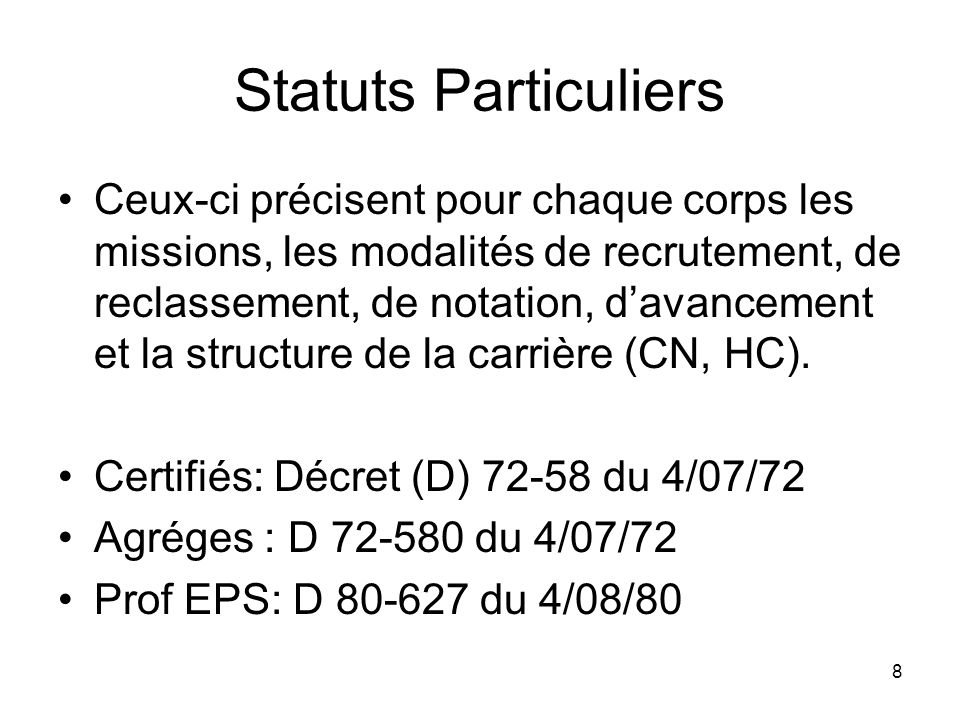 Statuts Particuliers